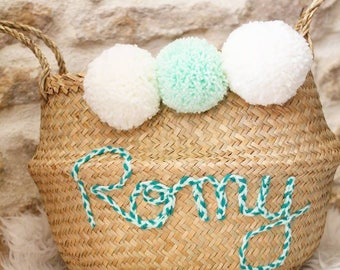 Personalized basket with PomPoms