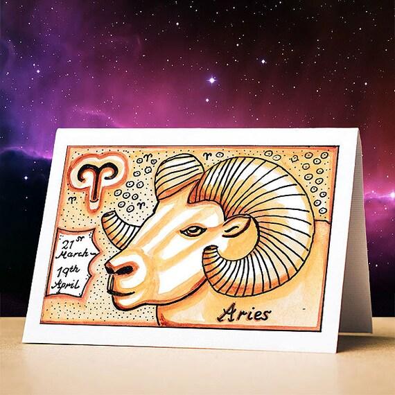 Aries Birthday Card Aries Star Sign Zodiac Astrology