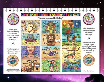 Astrological Birthday calendar, Perpetual  Zodiac Calendar for every year.Never forget a birthday.Sun-Sign Birthday reminder.
