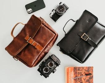 Genuine Leather Personalised Camera Organiser, Custom Camera Bag, Gift for Photographer, Photography Accessory, Camera Case, Messenger Bag
