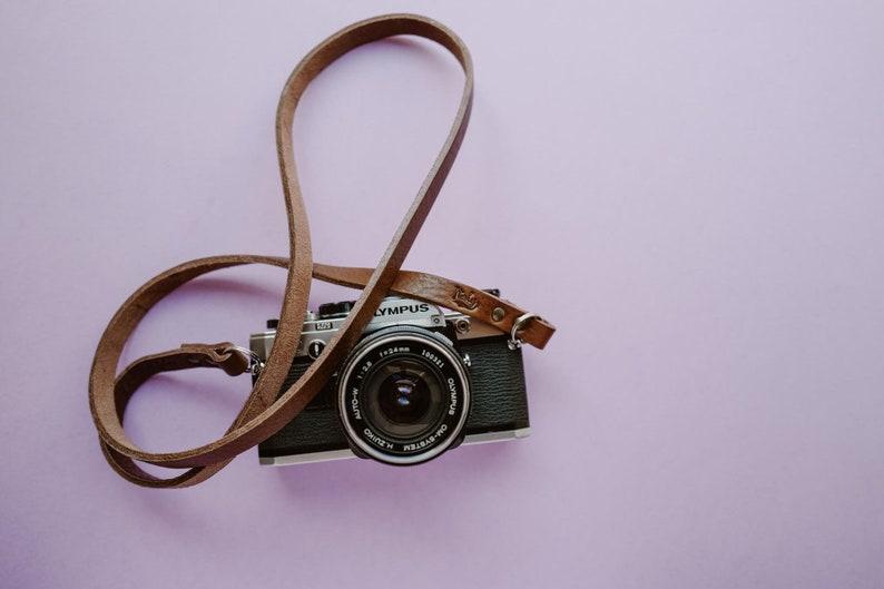 Leather camera strap. Color brown testa di moro. Handmade in image 0