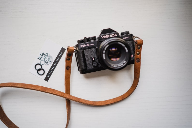 Leather camera strap personalized reflex mirrorless custom  image 0