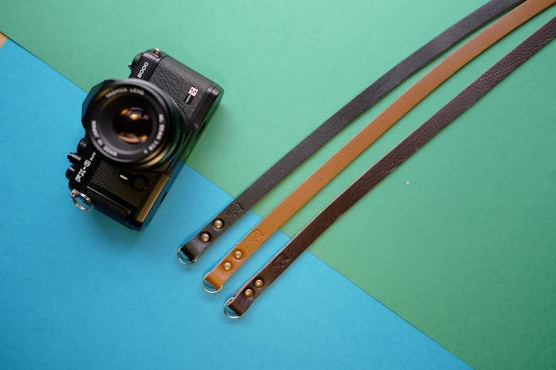 Leather camera strap personalized reflex mirrorless custom  image 0