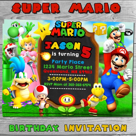 Super Mario Birthday Party Invitation Super Mario Invitation