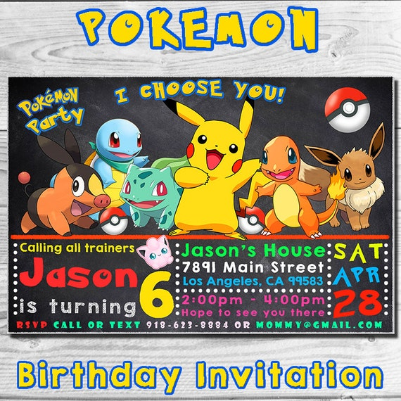 Pokemon Birthday Invitation Invitations