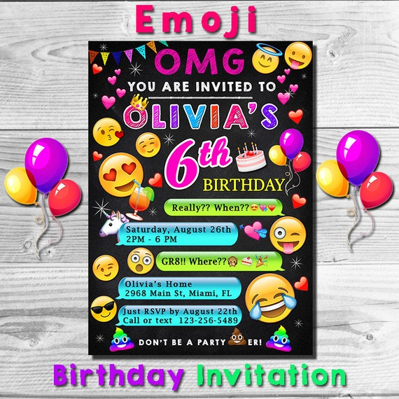 Emoji Invitation Invite Birthday Party Emojis Emoticons Printable
