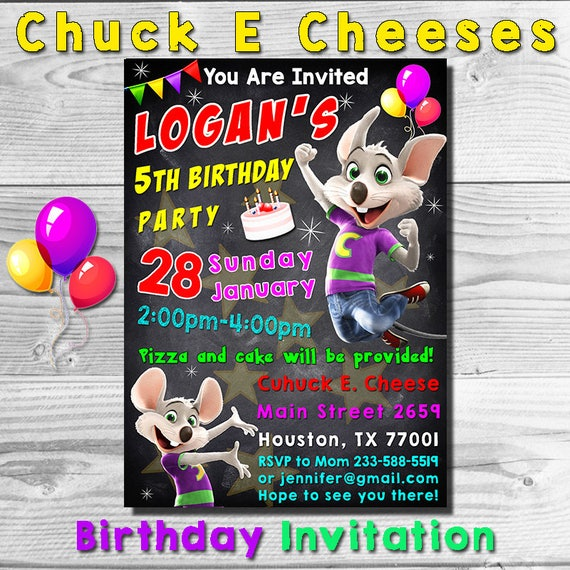 Chuck E Cheese Invitation Invite Birthday Party
