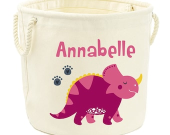 Personalised Canvas Toy Storage Tub Dinosaur Boys Name Customised Bag Basket Box