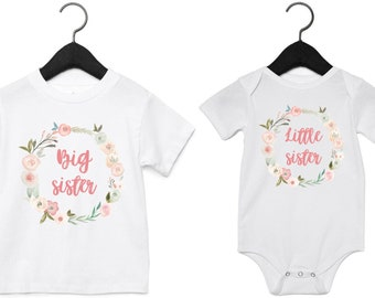 Middle Direct 23 Ltd Big Little Sister Gold /& Pink Glitter T-Shirts and Bodysuits T-Shirts /& Bodysuits