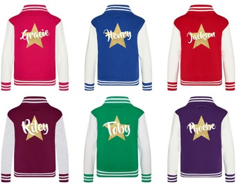 a33a2d7a9 Kids Personalised Gold Glitter Star Name Varsity Jacket
