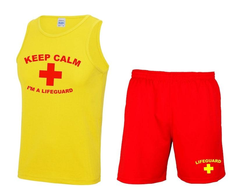 02f17a7cb8d KEEP CALM I M A LIFEGUARD Mens Vest   Shorts
