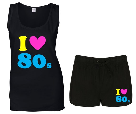 I Love the 80s Vest Top and Shorts Sizes 8 to 16