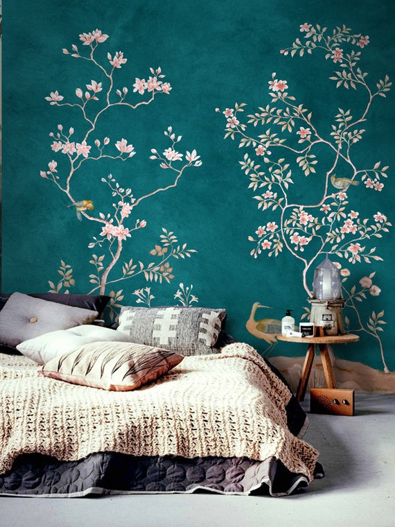 Chinoiserie Removable Wallpaper Floral Vintage Bird Wall Etsy