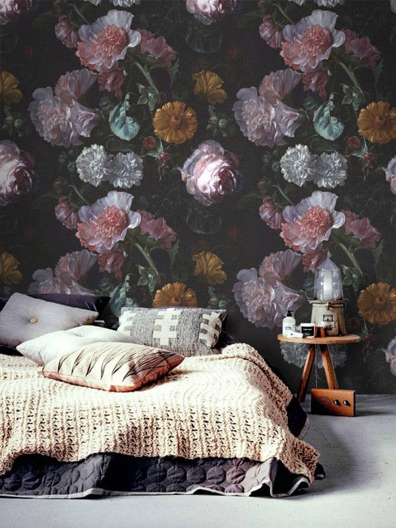 Large Floral Wallpaper Mural Flower Wallpaper Dutch Flower Oil Painting Floral Wallpaper Wall Art Decor Removable Wallpaper Floral