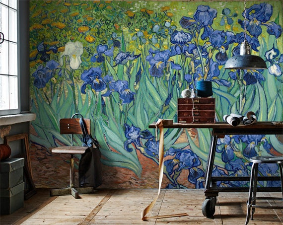 Large Iris Wallpaper Mural Wallpaper Print Van Gogh Wall Paper Floral Wallpaper Wall Art Decor Removable Iris Wallpaper Dutch Painting