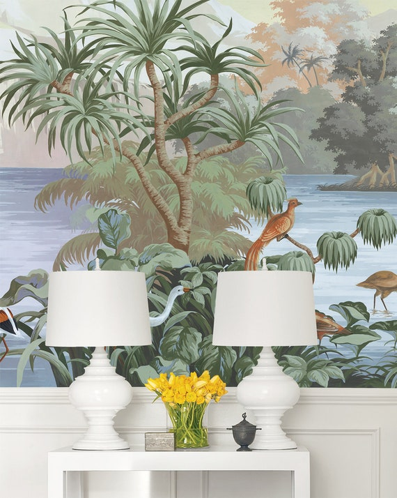 Vintage Chinoiserie Wallpaper Birds Wallpaper Easy Install Etsy