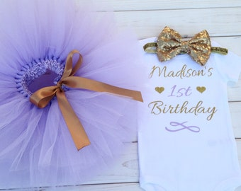 First birthday tutu outfit, lavender and gold first birthday outfit, photo prop, cake smash outfit, baby girl, 1st birthday, birthday girl