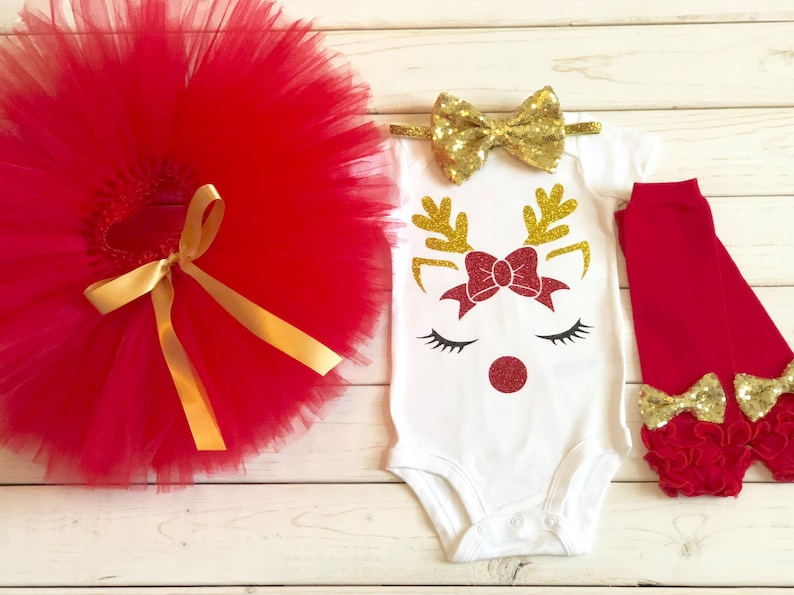 8e9ff9e81152 Christmas tutu outfit red and gold reindeer tutu outfit tutu | Etsy