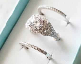 6a7e06559282 Engagement Ring Vintage Engagement Ring 1930s Ring Art Deco Ring Wedding  Ring Set 14k White Gold Ring Ring Sapphire Ring