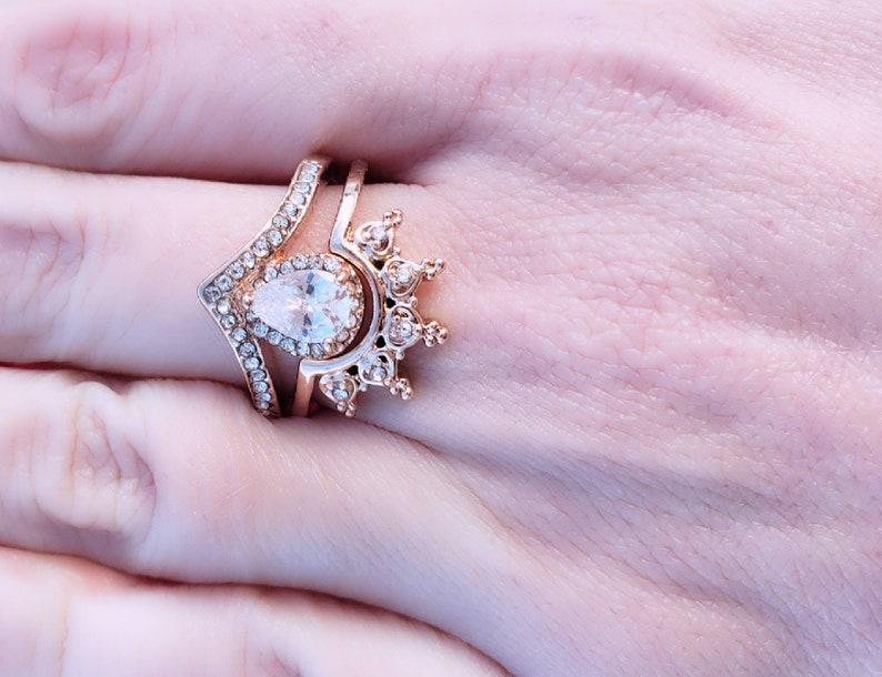 Engagement Ring Vintage Engagement Ring Crown Ring Nesting Ring  Art Deco Ring Wedding Ring Set Rose Gold Ring Stacking Ring Set