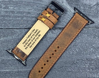 Apple Watch Band, Leather Watch band, iwatch band, Free Message Engraving, Handmade, 38mm 40mm 42mm 44mm  apple watch strap