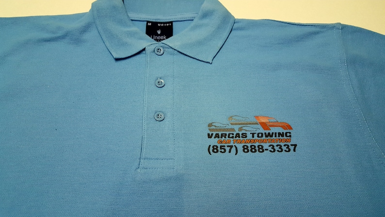 Personalised Polo Shirt Full Color Text Logo Print Work Uniform Workwear Company FRONT LEFT BREAST