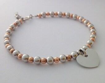 Sterling silver beaded bracelet jewelry, bracelet for woman, sterling silver bracelet jewelry, silver rose heart bracelet jewelry, bracelets