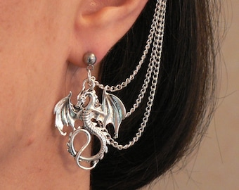 6420ff0b0 Dragon Ear-chains Ear Cuff Fantasy Cosplay Silver-plated Chains and  Hypo-allergenic Stud Earring (Single Earring) Birthday Gift