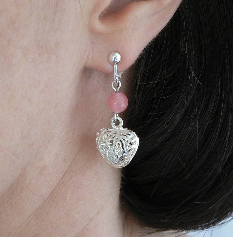 Unique Rose Quartz and Silver Plated Filigree Puff Heart Earrings Screw Adjustable Clip-on No Piercings Needed Mothers Day Birthday BFF Gift