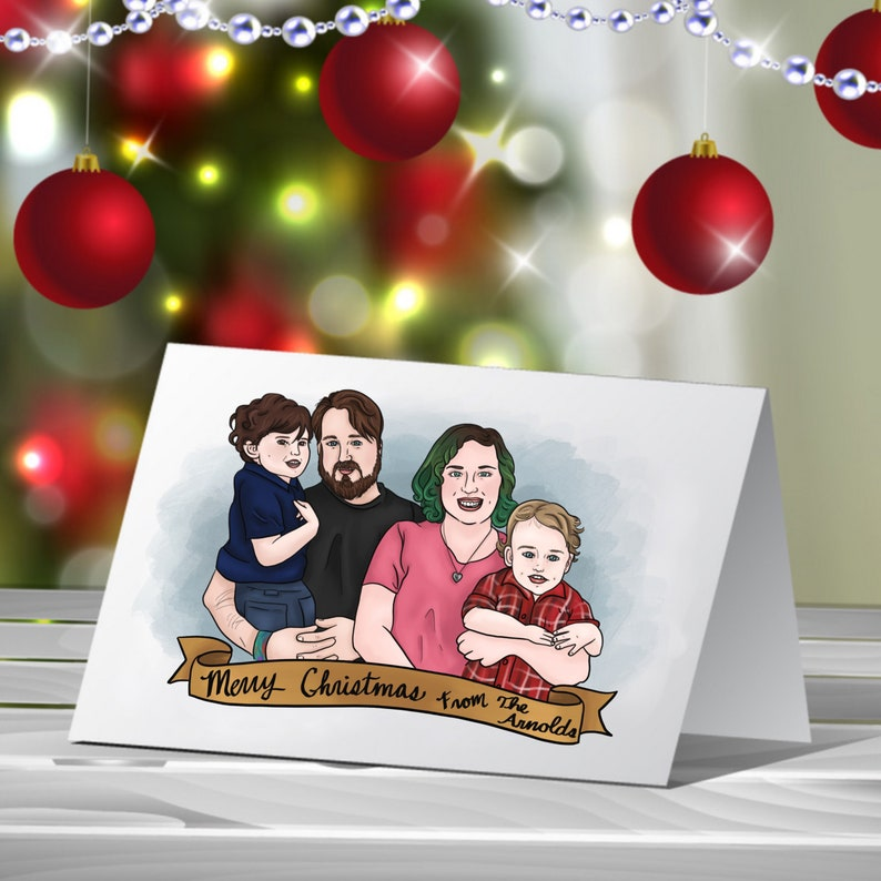 Christmas Family Portraits.Christmas Family Portrait Drawing Christmas Card Portrait Custom Portrait Drawing Digital Artwork Digital Family Portrait Personalized