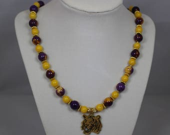 LSU necklace & earrings