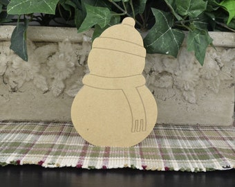 Snowman DIY Wood Christmas Craft- Unfinished Cutout- Free Standing- Winter Mantle Decor- Crafts for Kids- Rustic Farmhouse Decor