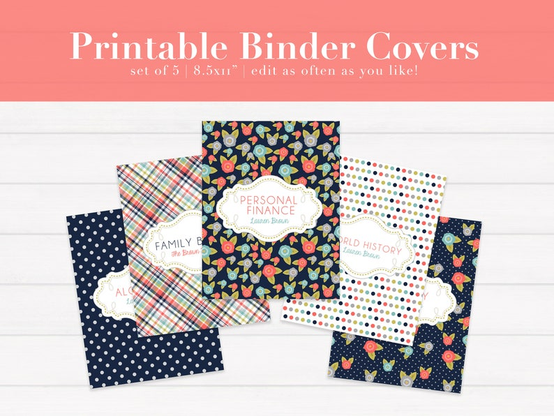 graphic about Free Editable Printable Binder Covers named Custom-made Binder Handles, Tailored Planner Go over, Editable Binder Go over, Printable Planner Handles, Higher education Inserts PDF, Laptop computer Go over