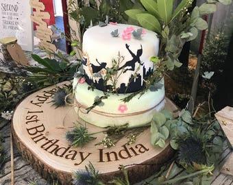 Personalised Unique Log Slice wedding/birthday or any celebration Cake Stand