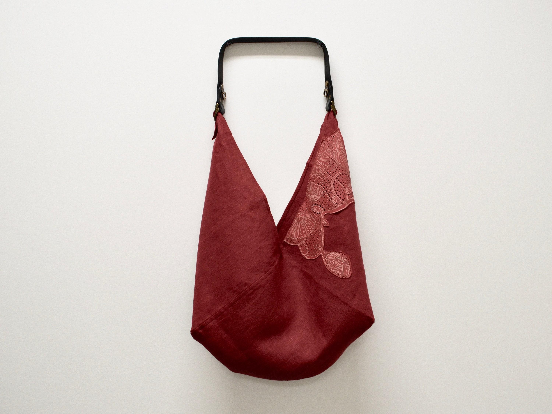 Ooak leather & linen applique bag bento bag origami bag etsy
