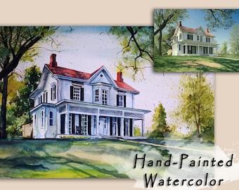 Custom  House Portrait Home portrait Custom watercolor Housewarming gift Watercolor house portrait Hand painted watercolor on paper