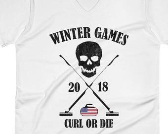 Curling Shirt | Olympics Shirt | USA Flag | Vintage Sports | Retro Sport Shirt | Winter Sports | Winter Games | Winter Olympics