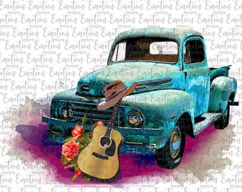 Ford Truck Watercolor Guitar PNG, instant download, Sublimation Graphics, Clipart