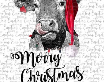 Merry Christmas Heifer clipart, instant download, Sublimation graphics, PNG