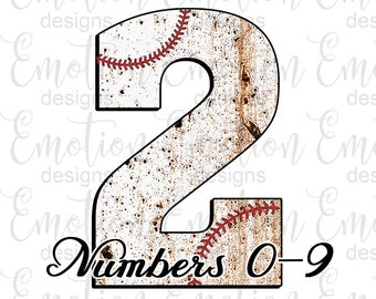 Baseball stitch monogram numbers Clip Art, instant download