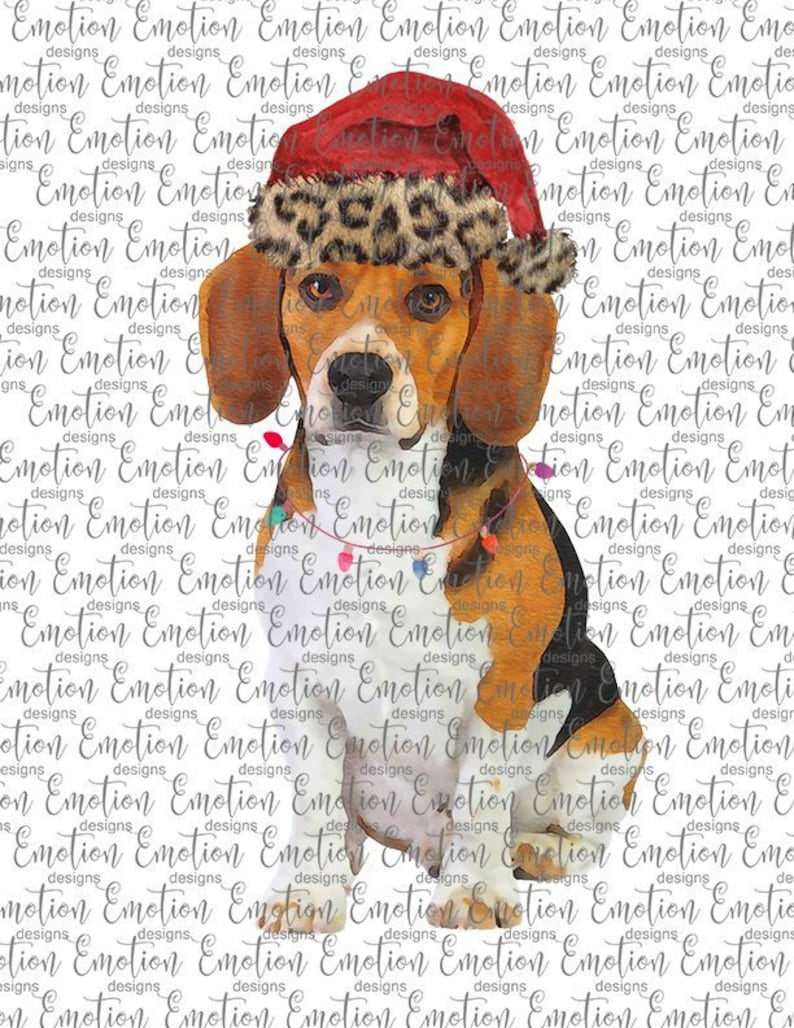 Christmas Beagle Clipart.Beagle With Leopard Santa Hat Watercolor Christmas Clipart Instant Download Sublimation Graphics Png