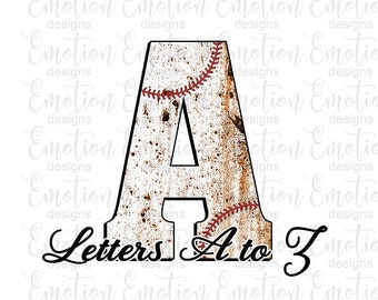 Baseball stitch monogram letters A to Z Clip Art, instant download