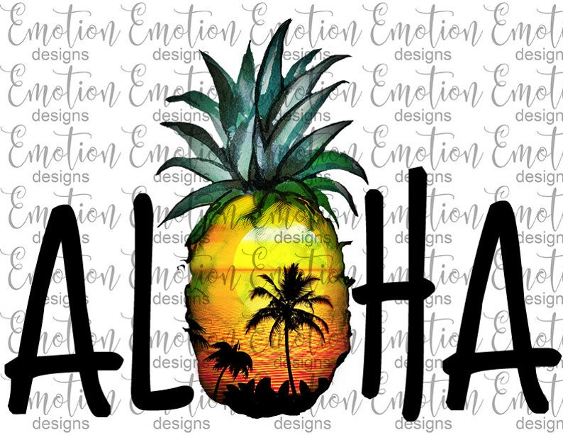 Aloha PNG, pineapple, clipart, instant download, Sublimation Graphics
