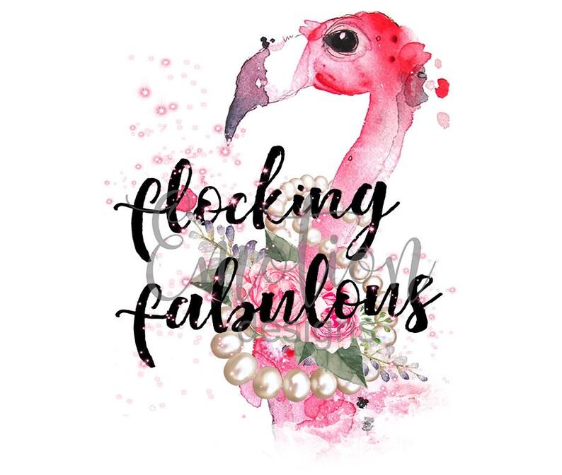 50 Fabulous Graphic: Flocking Fabulous Flamingo Clipart Instant Download