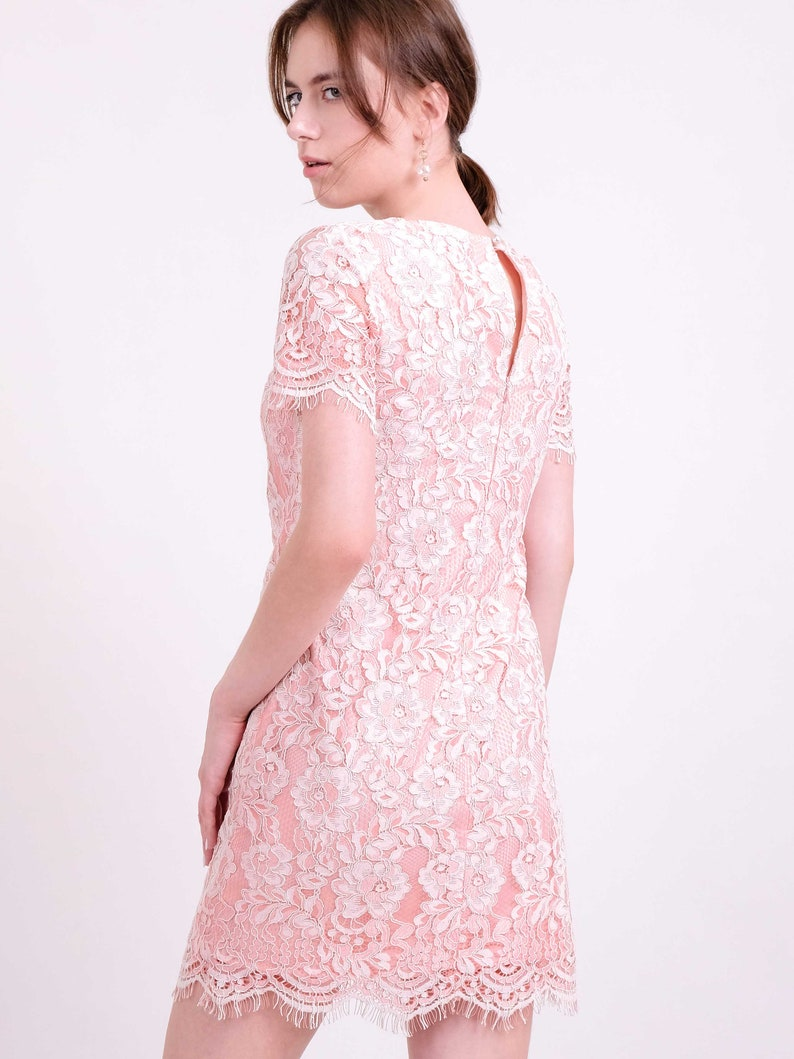 DRESS Coral pink two tone floral lace straight shift dress