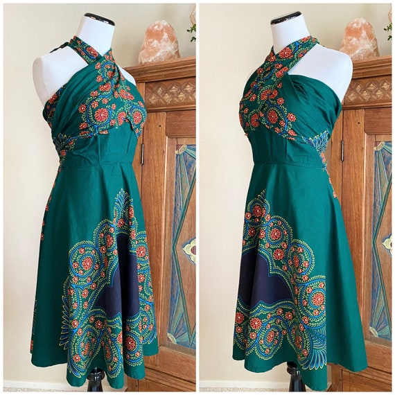 Vintage 50s batik wrap dress cotton convertible a… - image 3