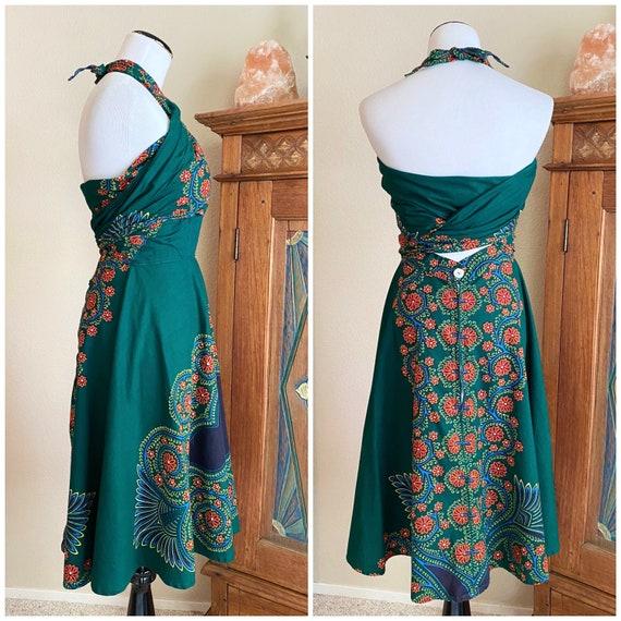 Vintage 50s batik wrap dress cotton convertible a… - image 5