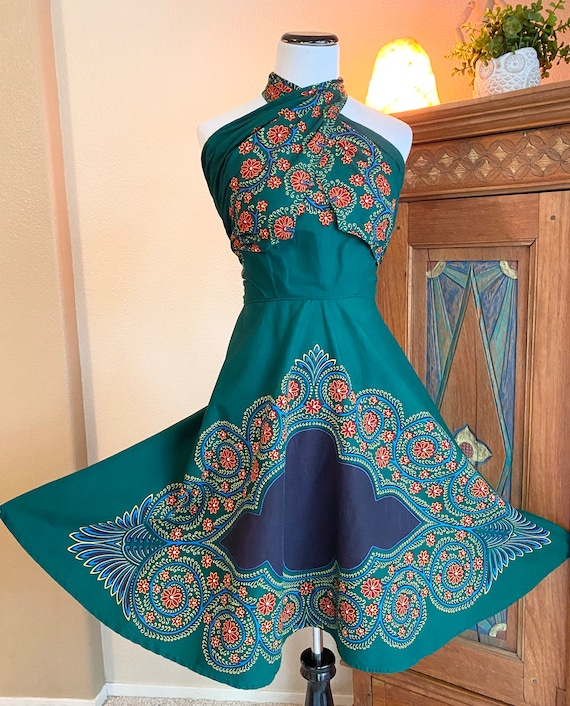 Vintage 50s batik wrap dress cotton convertible a… - image 2