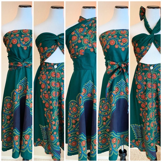 Vintage 50s batik wrap dress cotton convertible ad