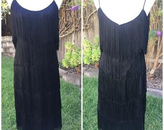 Vintage 70 / 80s black fringe flapper dress M